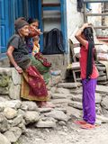 Nepalese people in Jagat village Royalty Free Stock Image