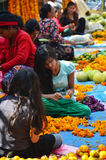 Nepalese people make Garland for sale at Thamel market Stock Photos
