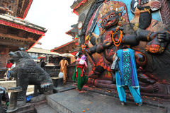 Nepalese people make offerings Royalty Free Stock Photos