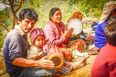 Nepalese people playing traditional music instruments Stock Image