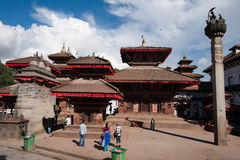 Nepalese people and tourists visiting Durbar square. Nepal, Kathmandu Royalty Free Stock Image