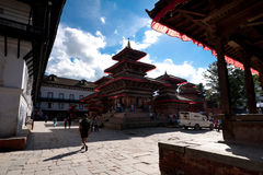 Nepalese people and tourists visiting Durbar square. Nepal, Kathmandu Royalty Free Stock Photos