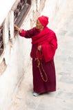 Nepalese people  walking around  Boudhanath stupa  in Kathmandu. Stock Photos
