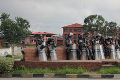 Nepalese policemen Stock Photo