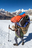 Nepalese Porter carrying Basket with Mountain Expedition Luggage Royalty Free Stock Images