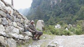 Nepalese porter stock footage