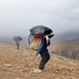 Nepalese porters Stock Photo