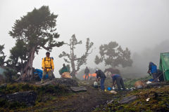 Nepalese porters forced to stay in the Sangda pass base camp Stock Image