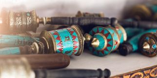 Nepalese prayer wheels at the street market Stock Image