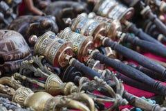 Nepalese Prayer Wheels on Swayambhunath stupa in Kathmandu, Nepa Royalty Free Stock Photos
