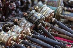 Nepalese Prayer Wheels on Swayambhunath stupa in Kathmandu, Nepa Stock Photos