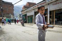 Nepalese pupil on Kathmandu street Stock Photo