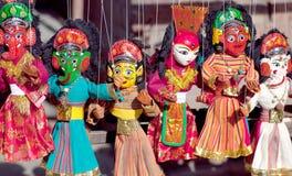 Nepalese puppets at Durbar Squar in Kathmandu, Nepal. Famous Nepalese puppets at Durbar Squar in Kathmandu, Nepal - mass product souvenir Stock Photography