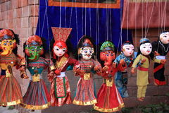 Nepalese puppets in Kathmandu market. Royalty Free Stock Photo