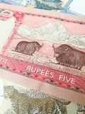 Nepalese rupee, close up of Nepal paper bank note Stock Image