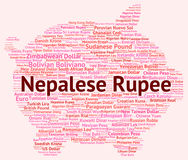 Nepalese Rupee Represents Currency Exchange And Coinage. Nepalese Rupee Meaning Exchange Rate And Banknotes Royalty Free Stock Images