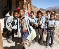 Nepalese school children near Rara lake in western Nepal Stock Photo