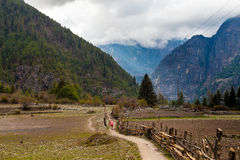 Nepalese Sherpa Hiking Mountain Trail Village.Old Man Walking Loaded Bags Track Traveler Beautiful Noth Asia.Himalaya. Summer Valley Landscape Background Stock Photo