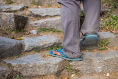 Nepalese sherpas use rubber sandal for walk on the mountain Stock Image