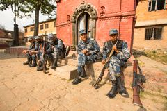 Nepalese soldiers Armed Police Force near public school, in Kathmandu, Nepal. Royalty Free Stock Photography