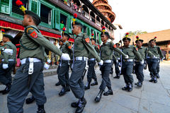 Nepalese soldiers marching in Kathmandu Stock Images