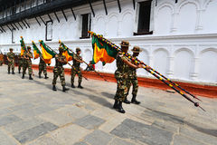 Nepalese soldiers marching in Kathmandu Royalty Free Stock Images