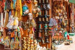 Nepalese souvenir shop. Close up photo of a souvenir shop in Kathmandu Royalty Free Stock Photos
