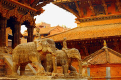 Nepalese statues of elephants Royalty Free Stock Image