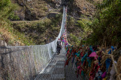 Nepalese suspension bridge Royalty Free Stock Images