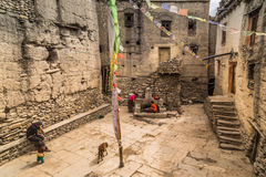 Nepalese town. Square at a small village,  Annapurna circuit, Himalaya, Nepal Royalty Free Stock Image