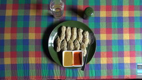 Nepalese traditional dumpling momos in Katmandu restaurant stock footage
