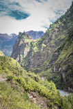 Nepalese valley with river and mountains. View from the trekking at Annapurnas circuit, Nepal Stock Photography