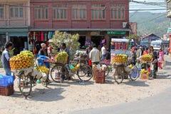 Nepalese venders selling fresh fruit on bicycle in Nepal Royalty Free Stock Image