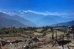 Nepalese village on a background of mountains, Everest region, N Royalty Free Stock Photography