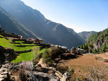 Nepalese village in everest region Royalty Free Stock Photography