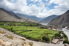 Nepalese village of Kagbeni, with orchards, is located in the valley of the Himalayas. Trekking to the Upper Mustang. Nepal Stock Image