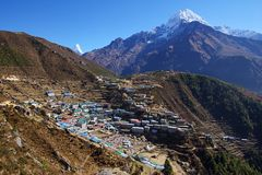 Nepalese village Namche Bazaar 3440m. Stock Photo