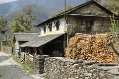 Nepalese village, traditional houses. royalty free stock photos