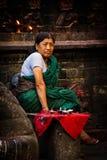 Nepalese vrouw, Durbar-Vierkant, Katmandu, Nepal Royalty-vrije Stock Afbeeldingen