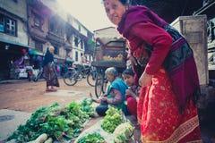 Nepalese vrouwen die aan vruchten en groentenmarkt in nepa werken Royalty-vrije Stock Afbeeldingen