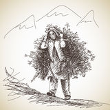 Nepalese woman carries a tree branches. On her head in the traditional way. Hand drawn illustration Stock Images