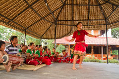 Nepalese woman dancing traditional dance in Chitwan, Nepal Royalty Free Stock Images