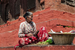 Nepalese Woman - Durbar Square - Kathmandu - Nepal Royalty Free Stock Photography