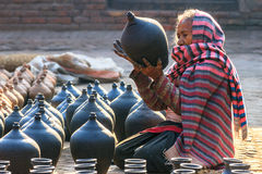 Nepalese Woman Making Pottery, Bhaktapur, Nepal Stock Image