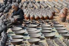 Nepalese Woman with Pottery Stock Photos