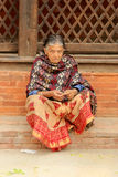 Nepalese woman on the street Kathmandu, Nepal on April 06, 2014 Stock Photos