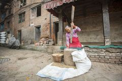 Nepalese woman working in the his pottery workshop. Royalty Free Stock Image