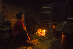 Nepalese woman working in the his pottery workshop. Royalty Free Stock Photo