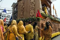 Unidentified Nepalese women parade in the street at during the the Nepalese New Year Festival Stock Image