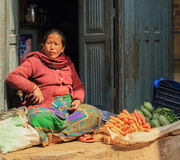 Nepalese women are trading in the market in Kathmandu, Nepal on Stock Images